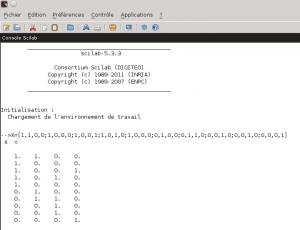Saisie de la matrice X dans Scilab